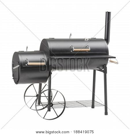 Barbecue Smoker Isolated On White Background. Barbecue Grill. Bbq Grillware Grill. Outdoor Cooking S
