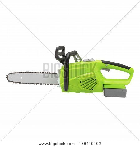 Chainsaw Isolated On White Background. Gas Powered Chain Saw. Green Gasoline Chain Saw. Garden Equip