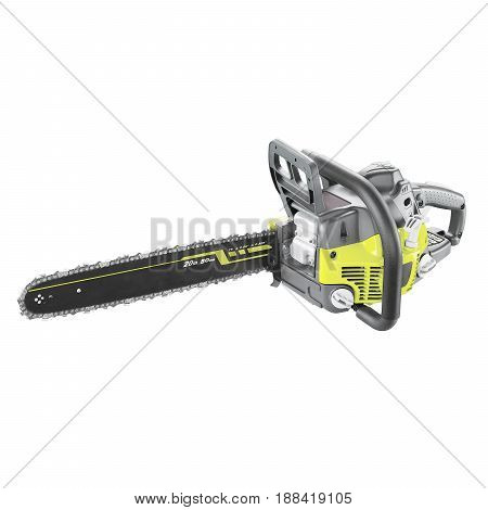 Chainsaw Isolated On White Background. Gas Powered Chain Saw. Gasoline Chain Saw. Garden Equipment.