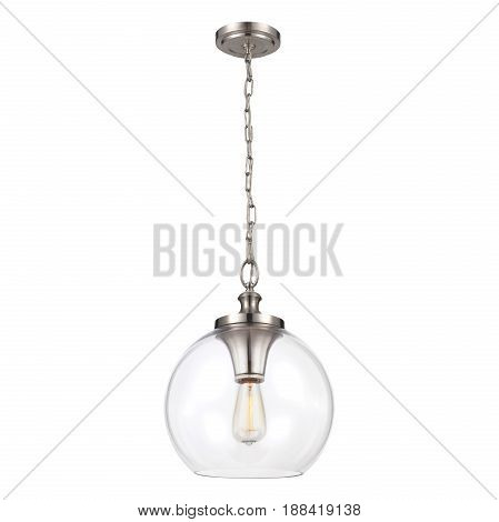 Glass Pendant Sconce Isolated On White Background. Chandelier Lighting. Ceiling Light Lamp With Chai