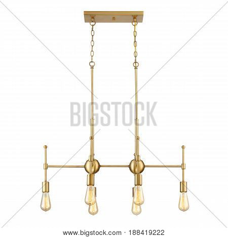 Pendant Sconce Isolated On White Background. Metal Bronze Light Fixture With Led Bulbs. Chandelier L