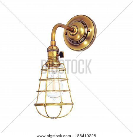 Pendant Sconce Isolated On White Background. Metal Light Fixture With Led Bulbs. Chandelier Lighting