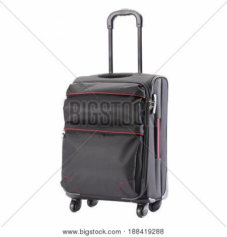 Vip Trolley Bag Isolated On White Background. Travel Suitcase With Wheels. Spinner Trunk. Trolley Tr