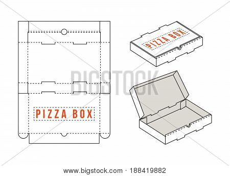 Stock Vector Rectangular Box For Pizza Slices