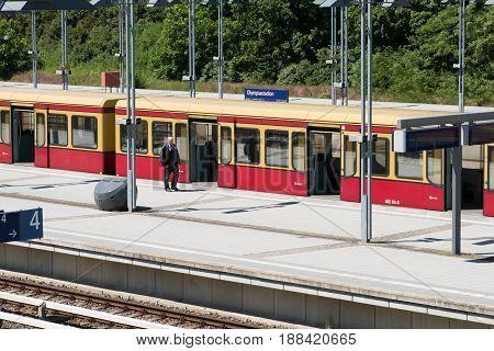 S-bahn Trains At Terminal Train Station Olympiastadion  (olympic Stadium) In Berlin