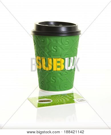 SWINDON UK - MAY 27 2017: Subway Coffee Cup with My Subcard on a white background