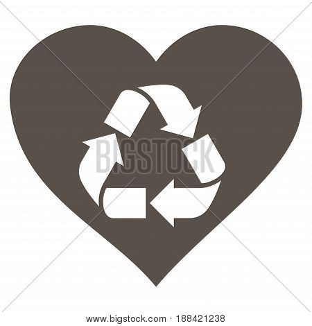 Love Recycle flat icon. Vector grey symbol. Pictogram is isolated on a white background. Trendy flat style illustration for web site design, logo, ads, apps, user interface.