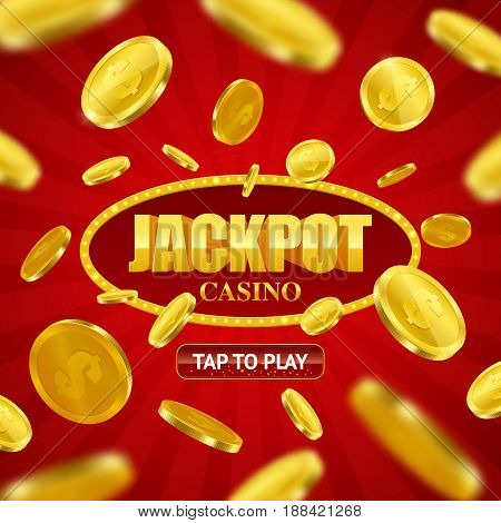 Jackpot casino game online site design with play button option and flying golden coins background vector illustration
