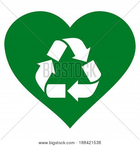 Love Recycle flat icon. Vector green symbol. Pictogram is isolated on a white background. Trendy flat style illustration for web site design, logo, ads, apps, user interface.