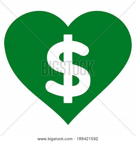 Paid Love flat icon. Vector green symbol. Pictograph is isolated on a white background. Trendy flat style illustration for web site design, logo, ads, apps, user interface.