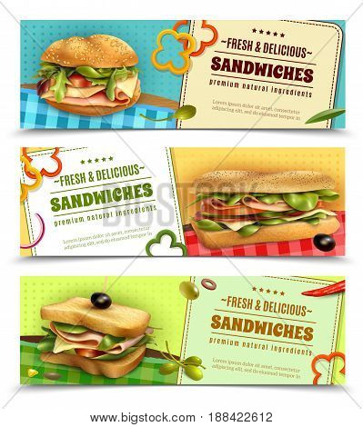 Healthy whole grain sandwiches with natural fresh ingredients 3 horizontal advertisement banners set realistic isolated vector illustration