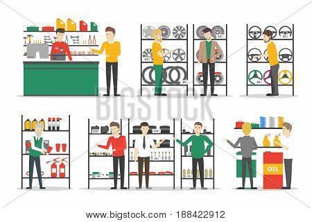 Car parts store set. People in the shop buy parts for the vehicles on white background.