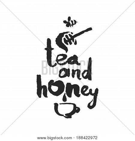 Tea and Honey. Hand written phrase in calligraphic style. Black on white background. Clipping paths included.