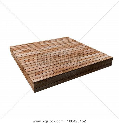 3d illustration of a wooden square shape isolated on white background