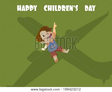 Digital vector happy children day card, little kid looking at an airplane, shadow
