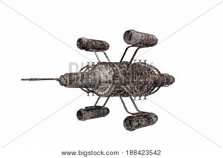 3d illustration of a rusty spaceship isolated on white background