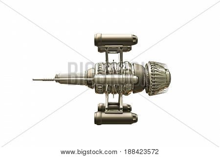 3d illustration of a spaceship isolated on white background