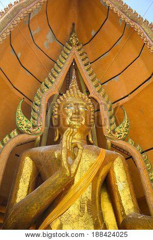 THAILAND, 14 January 2017 ; close up gold buddha statue in Wathumsua Kanchanaburi , Amphur Taamuang at Kanchanaburi Thailand. This temple located on mountain.