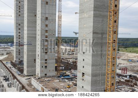 View on Skyscraper under construction in Poland, Europe.