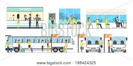 Bus interior set. Seat in the bus, bus stop and buying tickets on white background.