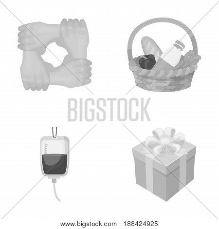 Gesture of the hands in support, a basket with food for charity, donor blood, a gift donation box. Charity and donation set collection icons in monochrome style vector symbol stock illustration .
