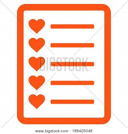 Favourites List Page flat icon. Vector orange symbol. Pictograph is isolated on a white background. Trendy flat style illustration for web site design, logo, ads, apps, user interface.