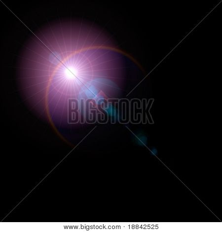 Lens flare artistic effect isolated on black background