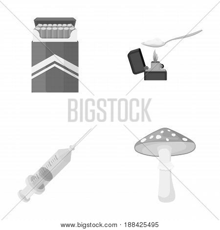 Cigarettes, a syringe, a galoyucinogenic fungus, heroin in a spoon.Drug set collection icons in monochrome style vector symbol stock illustration .