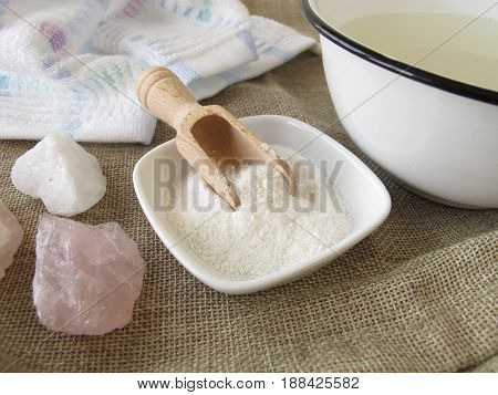 Alkaline bath salt as healing bath essence