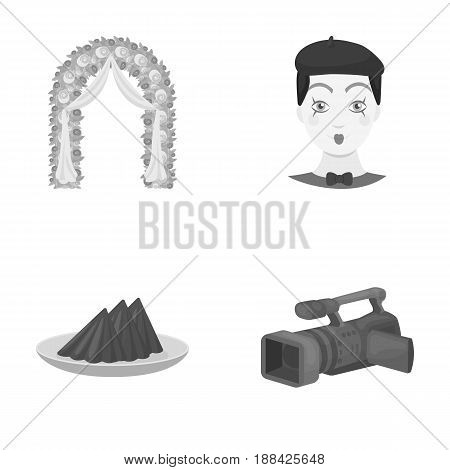 The arch is decorated with roses and silk, a clown in a cap, a plate with red napkins, a video camera. Event services set collection icons in monochrome style vector symbol stock illustration .