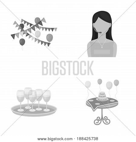 Garland with flags and balls, leading celebration with a microphone, a tray with glasses with champagne, a table covered with a tablecloth with plates, cake and balls. Event services set collection icons in monochrome style vector symbol stock illustratio