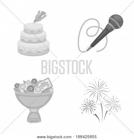 Hand making a cake with cream, a microphone with a cord, a bouquet of roses with a greeting card, a festive salute. Event services set collection icons in monochrome style vector symbol stock illustration .
