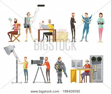 Set of making movie including actors director cameraman sound engineer lighting operator flat style isolated vector illustration