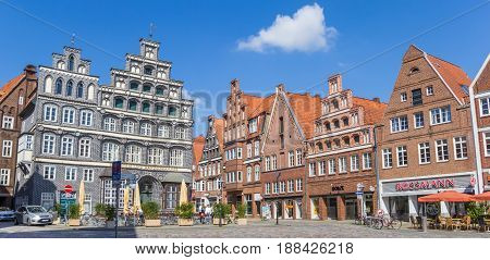 LUNEBURG, GERMANY - MAY 21, 2017: Central square in the historic old town of Luneburg, Germany