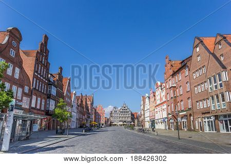 LUNEBURG, GERMANY - MAY 21, 2017: Central square Am Sande in Luneburg, Germany