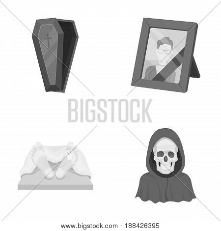 Coffin with a lid and a cross, a photograph of the deceased with a mourning ribbon, a corpse on the table with a tag in the morgue, death in a hood. Funeral ceremony set collection icons in monochrome style vector symbol stock illustration .