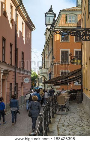 UPPSALA, SWEDEN - JULY 7, 2016: This is one of the old streets of the historic city center.