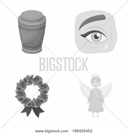 The urn with the ashes of the deceased, the tears of sorrow for the deceased at the funeral, the mourning wreath, the angel of death. Funeral ceremony set collection icons in monochrome style vector symbol stock illustration .