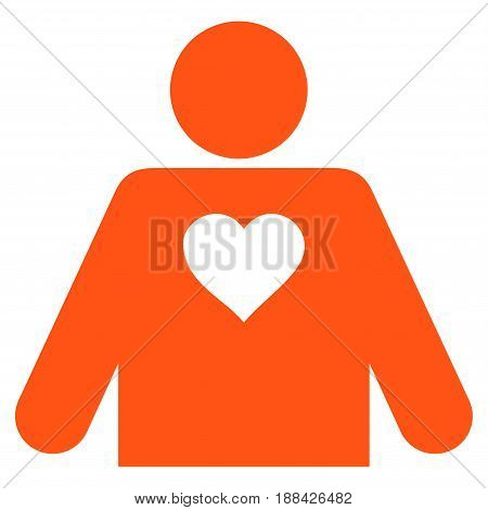 Lover Person flat icon. Vector orange symbol. Pictogram is isolated on a white background. Trendy flat style illustration for web site design, logo, ads, apps, user interface.