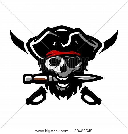 The skull of a pirate, with a dagger in his teeth. Vector illustration.
