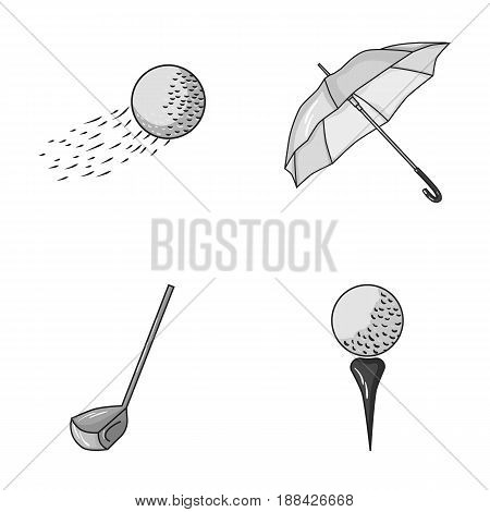 A flying ball, a yellow umbrella, a golf club, a ball on a stand. Golf Club set collection icons in monochrome style vector symbol stock illustration .