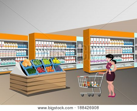Mom shopping with kids. Woman in supermarket.