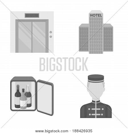 Elevator car, mini bar, staff, building.Hotel set collection icons in monochrome style vector symbol stock illustration .