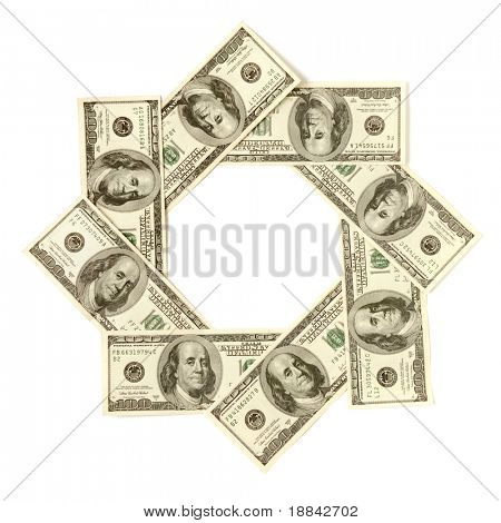 Artistic pattern made from dollar bills Snowflake star or aperture Isolated with a clipping path on white background