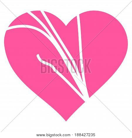 Damaged Love Heart flat icon. Vector pink symbol. Pictogram is isolated on a white background. Trendy flat style illustration for web site design, logo, ads, apps, user interface.