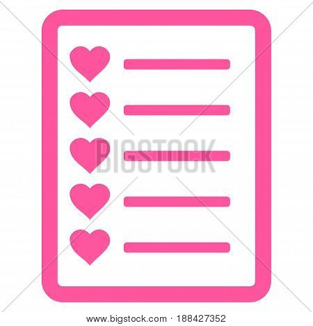 Favourites List Page flat icon. Vector pink symbol. Pictograph is isolated on a white background. Trendy flat style illustration for web site design, logo, ads, apps, user interface.