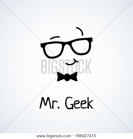 Geek logo design template with face in glasses. Vector illustration.