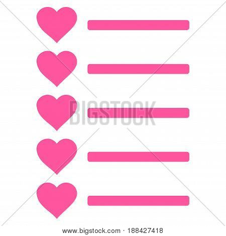 Favourites List flat icon. Vector pink symbol. Pictograph is isolated on a white background. Trendy flat style illustration for web site design, logo, ads, apps, user interface.