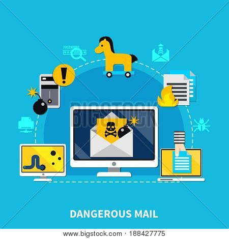 Dangerous mail design concept set of computer with dangerous mail cracking smartphone worm and trojan horse virus signs cartoon vector illustration