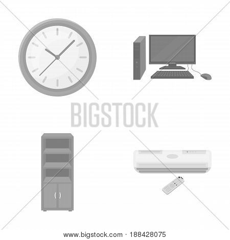 Clock with arrows, a computer with accessories for work in the office, a cabinet for storing business papers, air conditioning with remote control. Office Furniture set collection icons in monochrome style vector symbol stock illustration .